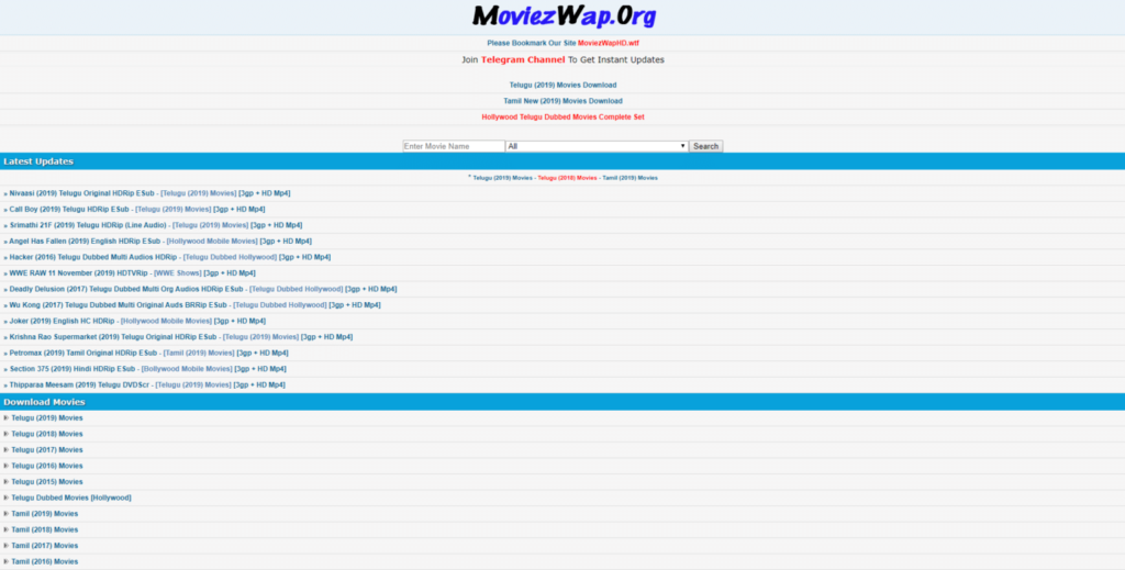 Moviezwap homepage