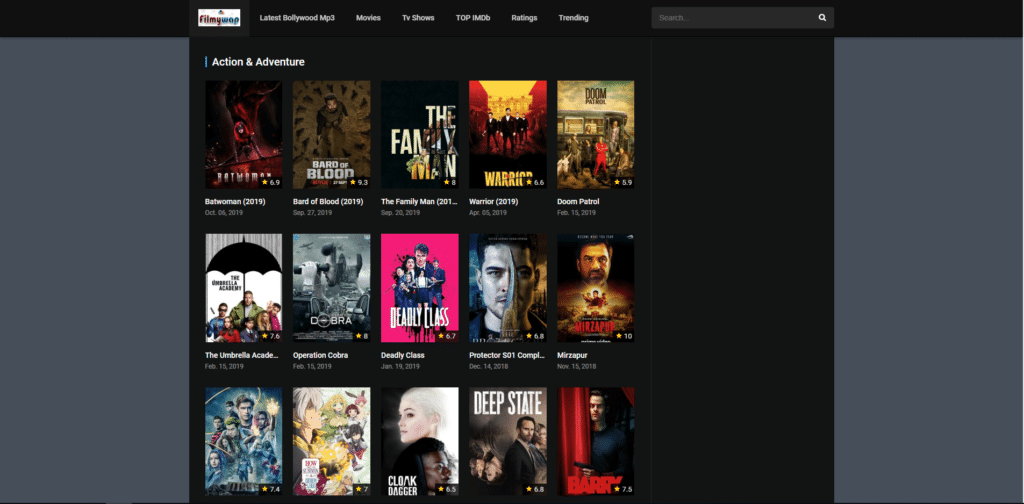 Filmywap download homepage