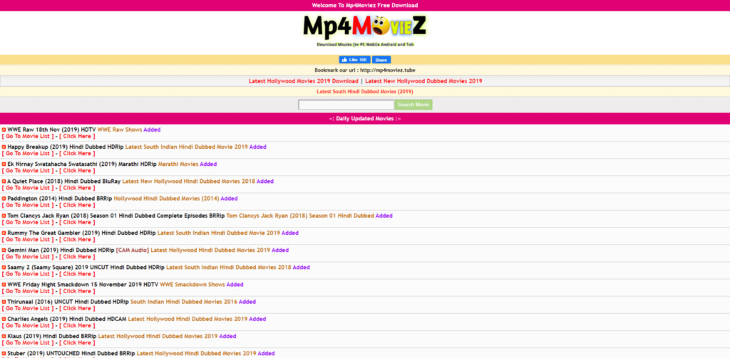 Mp4moviez homepage
